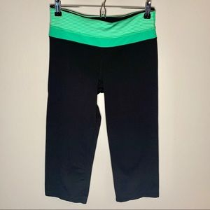 Pants - Cropped Black Yoga Pants with Green WaistBand
